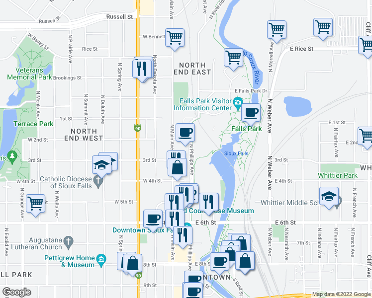 map of restaurants, bars, coffee shops, grocery stores, and more near 701 North Phillips Avenue in Sioux Falls