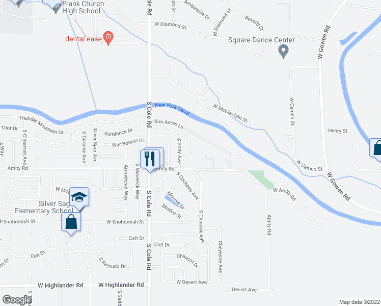 map of restaurants, bars, coffee shops, grocery stores, and more near 5178 South Chinook Avenue in Boise