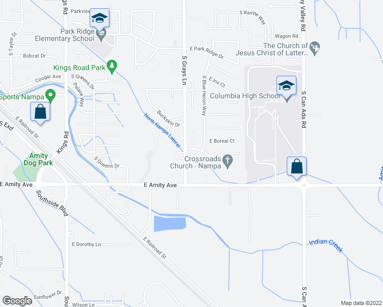 map of restaurants, bars, coffee shops, grocery stores, and more near 3989 East Winterberry Drive in Nampa