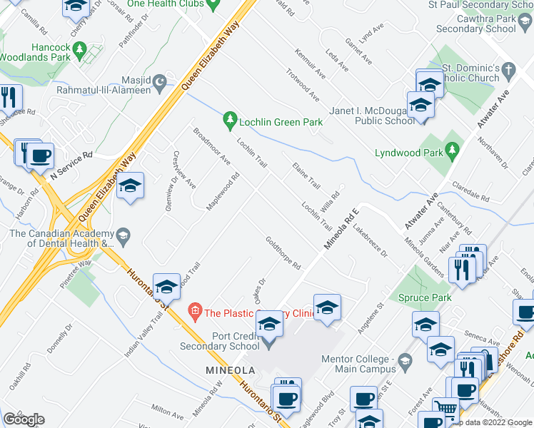 map of restaurants, bars, coffee shops, grocery stores, and more near in Mississauga