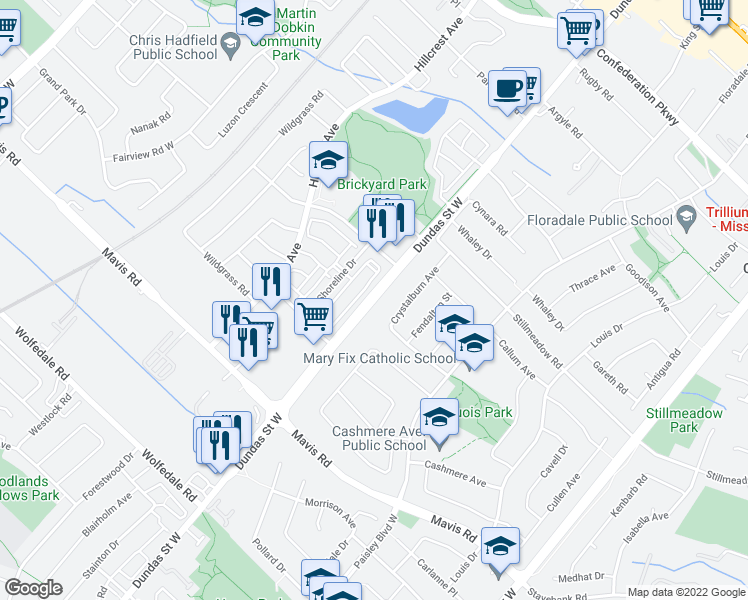 map of restaurants, bars, coffee shops, grocery stores, and more near 2632 Crystalburn Avenue in Mississauga