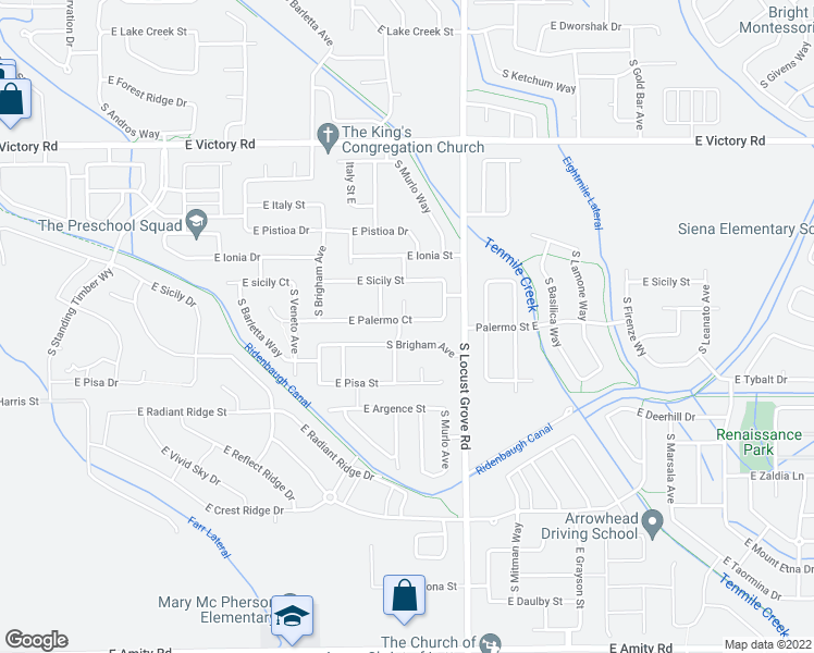 map of restaurants, bars, coffee shops, grocery stores, and more near 1401 East Palermo Drive in Meridian