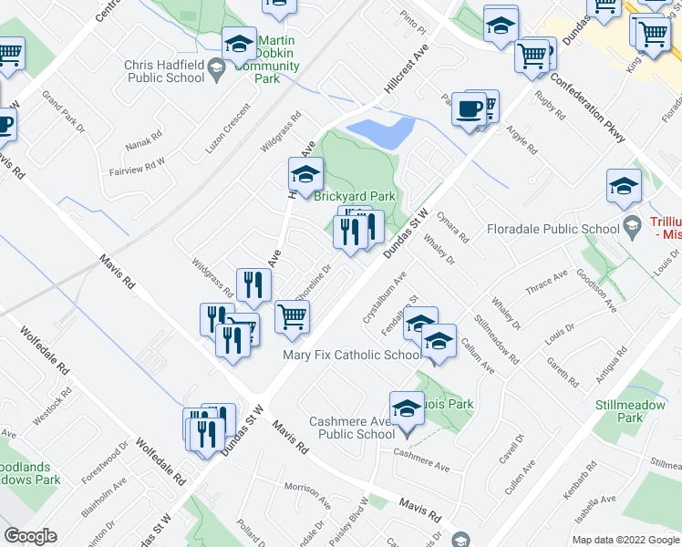 map of restaurants, bars, coffee shops, grocery stores, and more near 710 Neighbourhood Circle in Mississauga