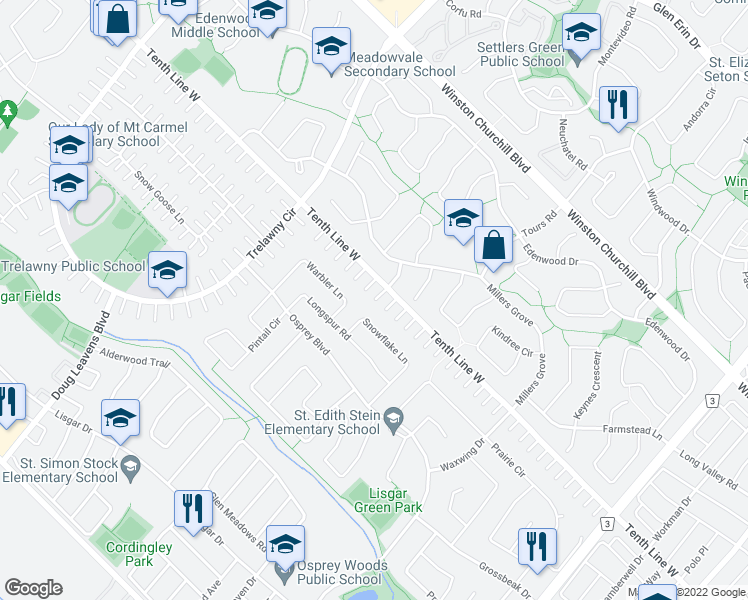 map of restaurants, bars, coffee shops, grocery stores, and more near 6379 Snowflake Lane in Mississauga