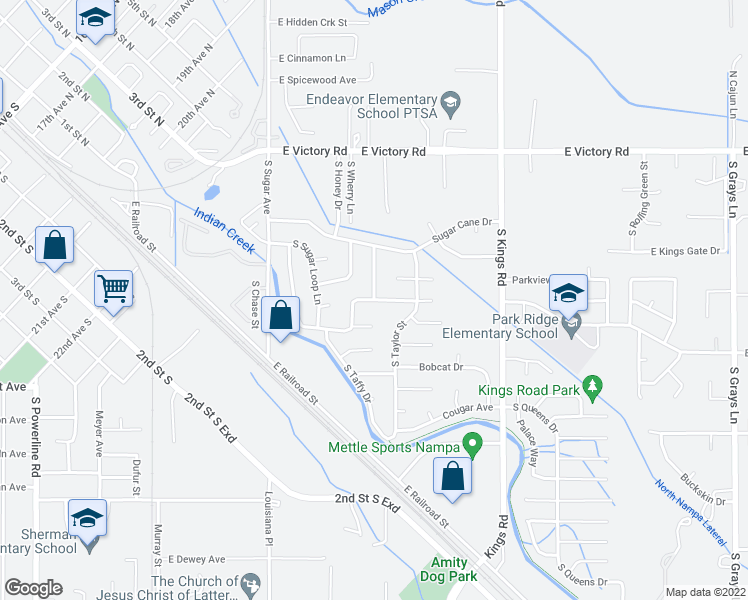 map of restaurants, bars, coffee shops, grocery stores, and more near Muskrat Avenue in Nampa