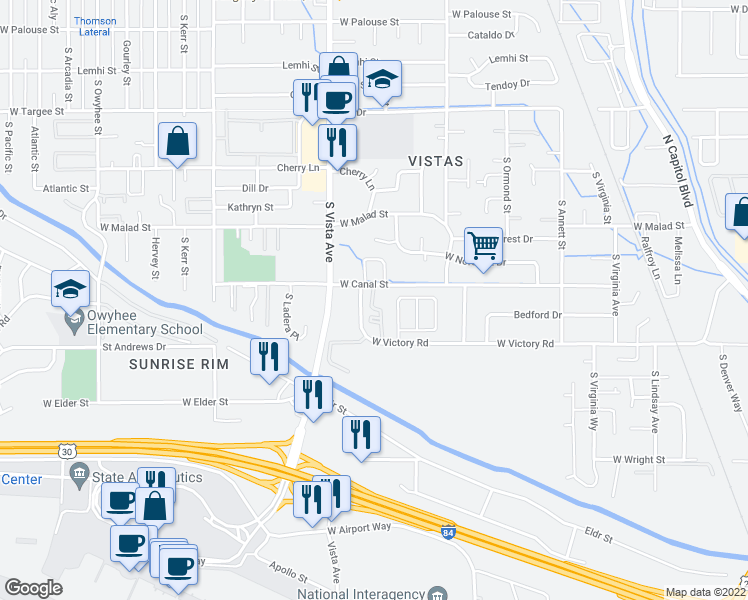 map of restaurants, bars, coffee shops, grocery stores, and more near 2516-2560 West Victory Road in Boise