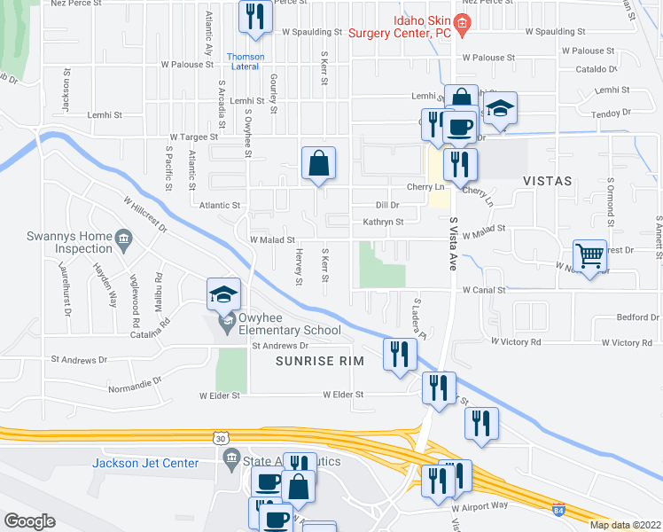 map of restaurants, bars, coffee shops, grocery stores, and more near 2706 South Kerr Street in Boise