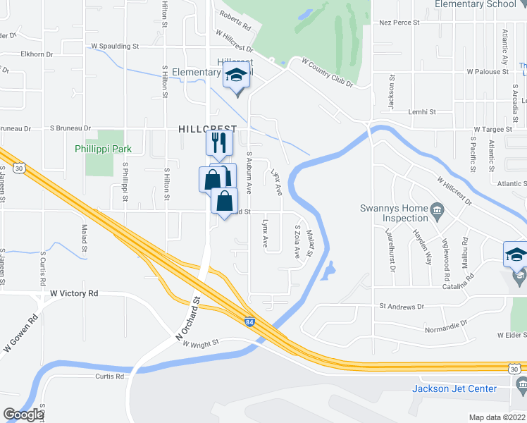 map of restaurants, bars, coffee shops, grocery stores, and more near 4706 Malad Street in Boise