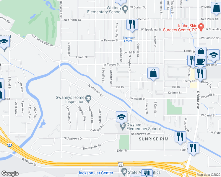 map of restaurants, bars, coffee shops, grocery stores, and more near 3601 Dill Drive in Boise