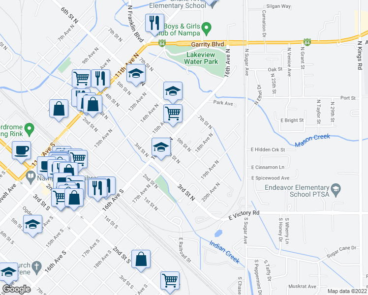map of restaurants, bars, coffee shops, grocery stores, and more near 423 17th Avenue North in Nampa