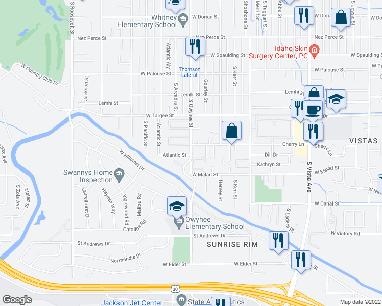 map of restaurants, bars, coffee shops, grocery stores, and more near 2520 South Owyhee Street in Boise