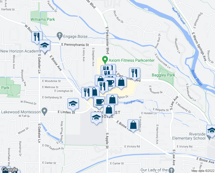 map of restaurants, bars, coffee shops, grocery stores, and more near 2321-2371 South Apple Street in Boise
