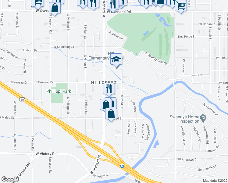 map of restaurants, bars, coffee shops, grocery stores, and more near 4857 West Targee Street in Boise