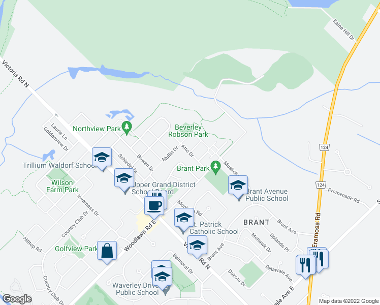 map of restaurants, bars, coffee shops, grocery stores, and more near Atto Drive in Guelph