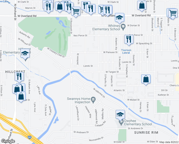 map of restaurants, bars, coffee shops, grocery stores, and more near 3917-3921 West Targee Street in Boise