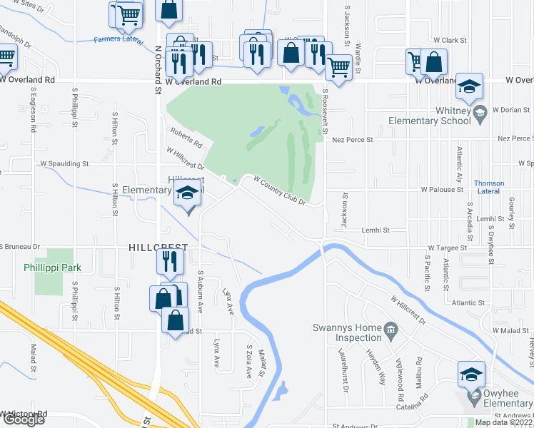 map of restaurants, bars, coffee shops, grocery stores, and more near 4425 West Hillcrest Drive in Boise
