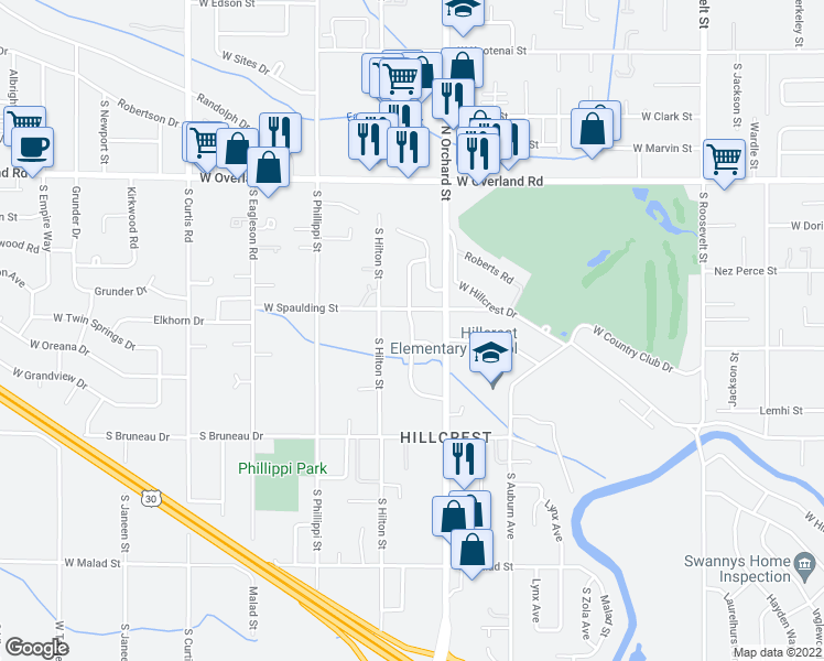map of restaurants, bars, coffee shops, grocery stores, and more near Broadmoor Drive in Boise