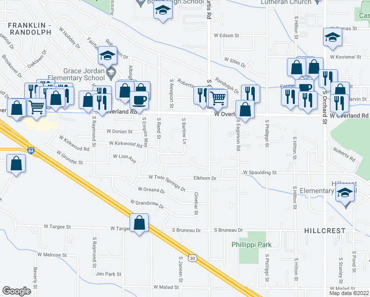 map of restaurants, bars, coffee shops, grocery stores, and more near 5950 West Grunder Street in Boise