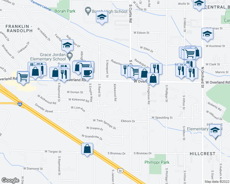 map of restaurants, bars, coffee shops, grocery stores, and more near 1733 South Barlow Lane in Boise