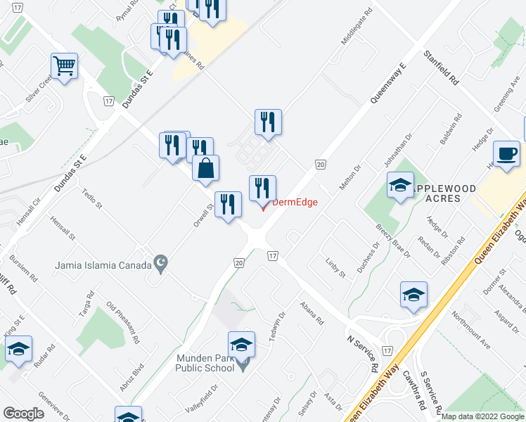 map of restaurants, bars, coffee shops, grocery stores, and more near 755 Queensway East in Mississauga