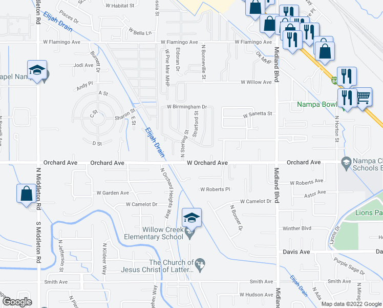 map of restaurants, bars, coffee shops, grocery stores, and more near 1518 West Orchard Avenue in Nampa