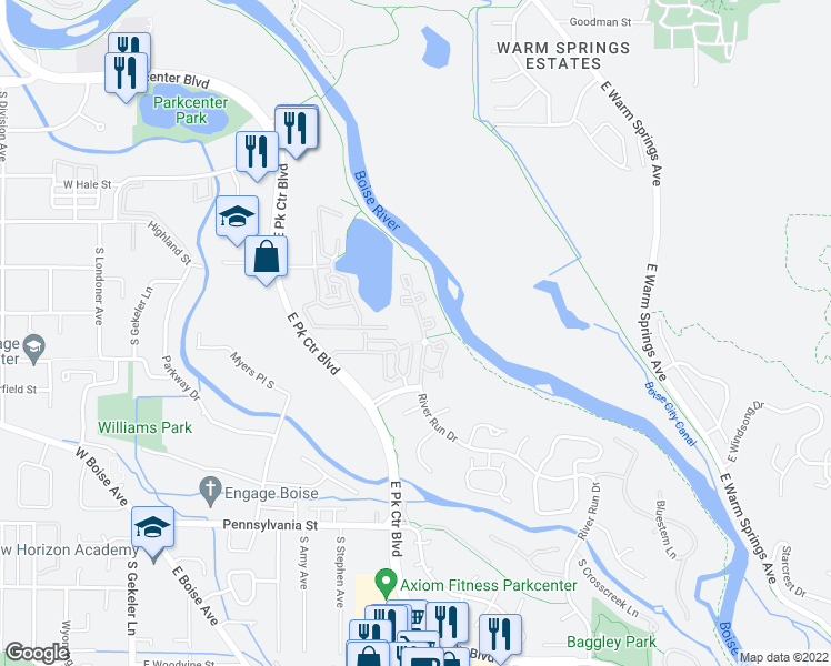 map of restaurants, bars, coffee shops, grocery stores, and more near 1671 South Riverstone Lane in Boise
