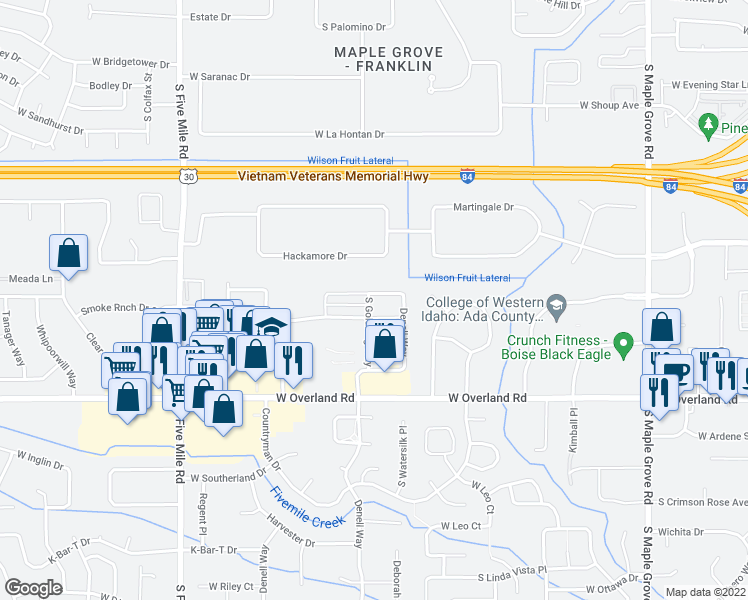map of restaurants, bars, coffee shops, grocery stores, and more near 10003 West Campville Street in Boise