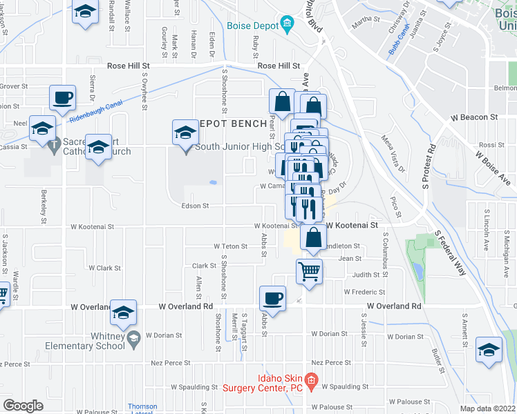 map of restaurants, bars, coffee shops, grocery stores, and more near 1101 Abbs Street in Boise