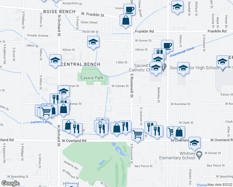 map of restaurants, bars, coffee shops, grocery stores, and more near 1018 South Wilson Street in Boise