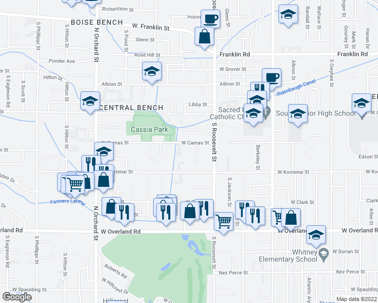 map of restaurants, bars, coffee shops, grocery stores, and more near 4325 West Camas Street in Boise