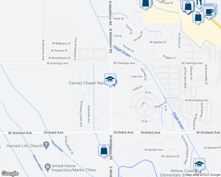 map of restaurants, bars, coffee shops, grocery stores, and more near 2323 Andy Place in Nampa