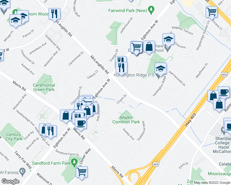 map of restaurants, bars, coffee shops, grocery stores, and more near 4693 Centretown Way in Mississauga
