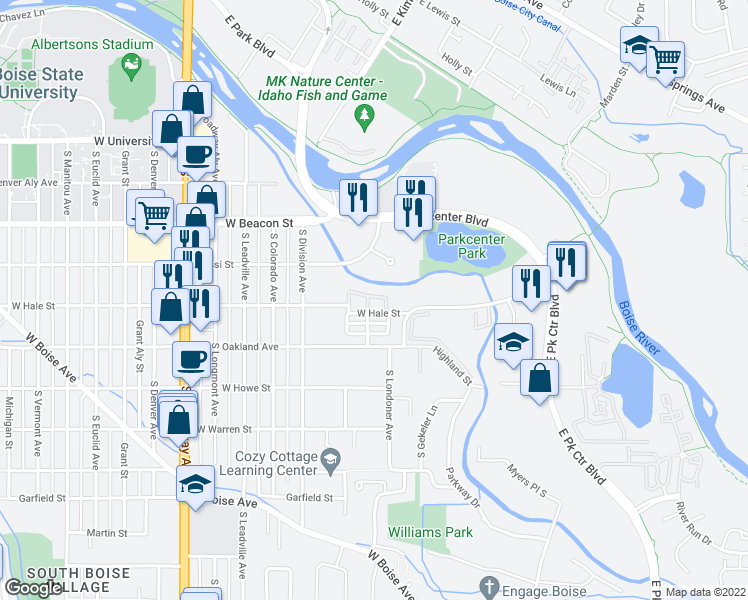 map of restaurants, bars, coffee shops, grocery stores, and more near 332 West Hale Street in Boise