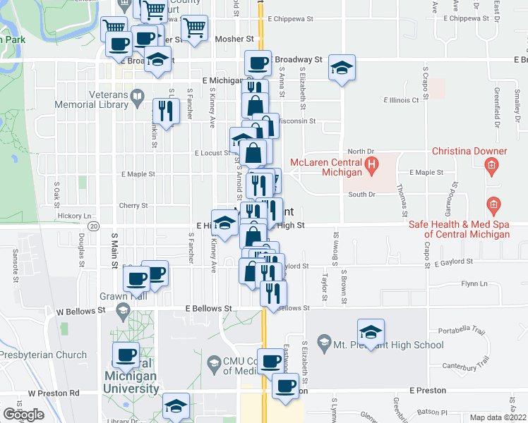 map of restaurants, bars, coffee shops, grocery stores, and more near in Mount Pleasant
