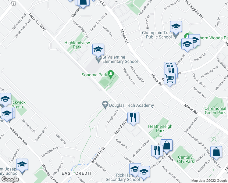 map of restaurants, bars, coffee shops, grocery stores, and more near 968 Sonoma Court in Mississauga