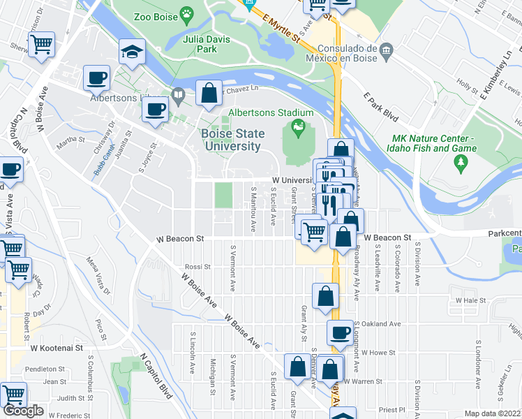 map of restaurants, bars, coffee shops, grocery stores, and more near 1135-1199 South Euclid Avenue in Boise