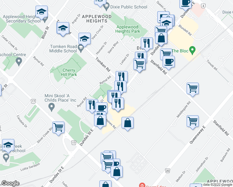 map of restaurants, bars, coffee shops, grocery stores, and more near 935 Dundas Street East in Mississauga