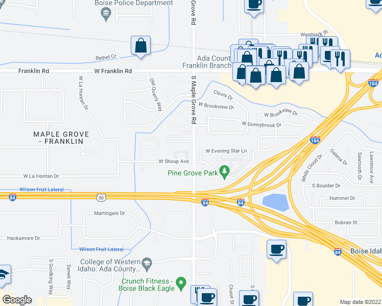 map of restaurants, bars, coffee shops, grocery stores, and more near 23 South Maple Grove Road in Boise