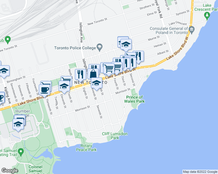 map of restaurants, bars, coffee shops, grocery stores, and more near 122 Fifth Street in Toronto