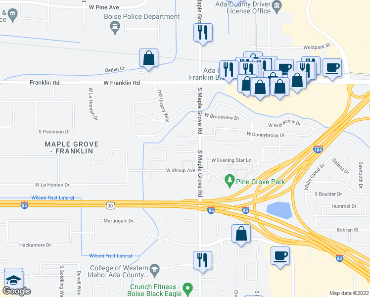 map of restaurants, bars, coffee shops, grocery stores, and more near 445 South Maple Grove Road in Boise