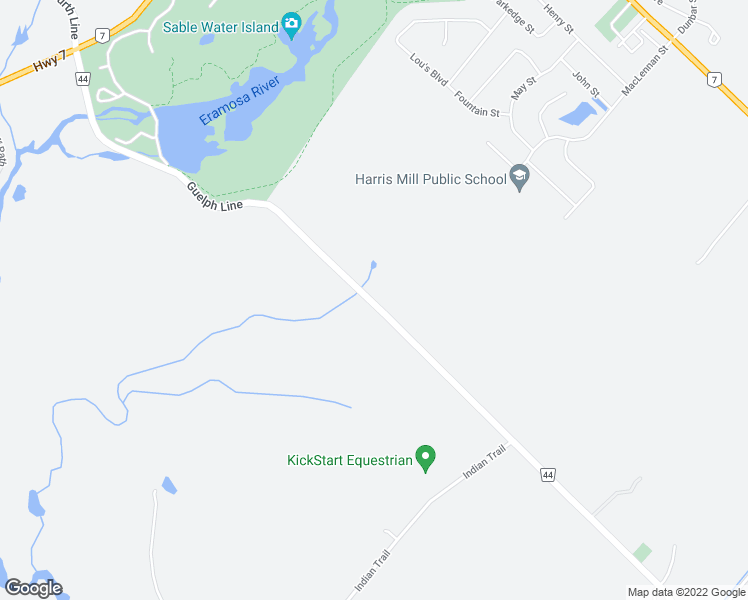 map of restaurants, bars, coffee shops, grocery stores, and more near 5016-5046 Wellington Road 44 in Wellington County