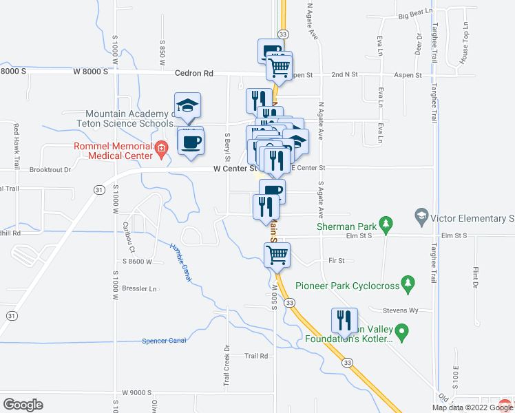 map of restaurants, bars, coffee shops, grocery stores, and more near 23 West Dogwood Street in Victor