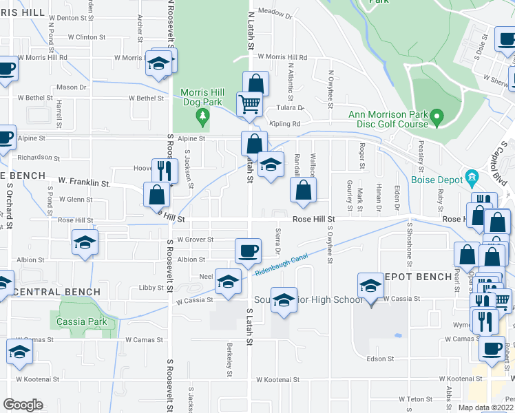 map of restaurants, bars, coffee shops, grocery stores, and more near 3709 Rose Hill Street in Boise