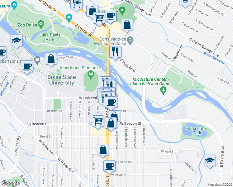 map of restaurants, bars, coffee shops, grocery stores, and more near South Longmont Avenue in Boise