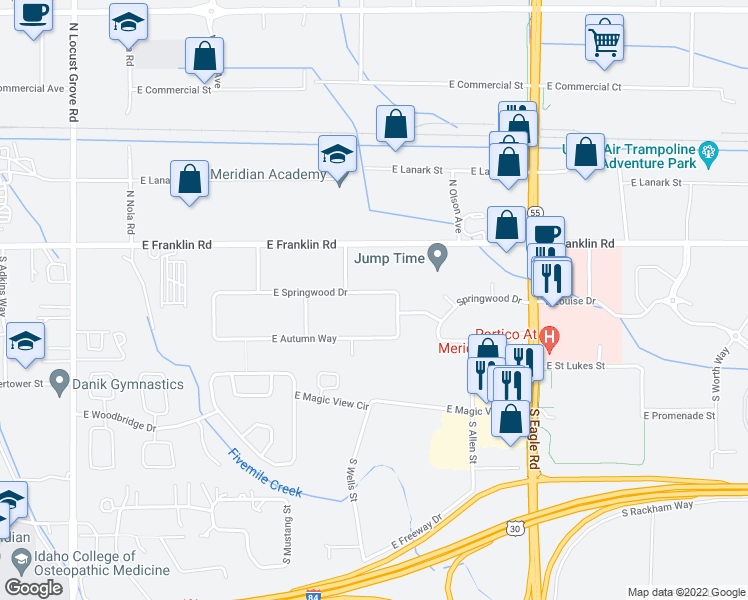 map of restaurants, bars, coffee shops, grocery stores, and more near 2539 East Springwood Drive in Meridian