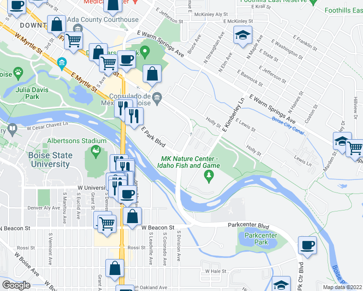 map of restaurants, bars, coffee shops, grocery stores, and more near 951 East Front Street in Boise