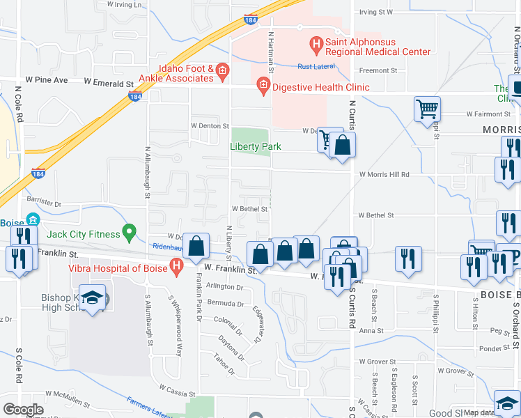 map of restaurants, bars, coffee shops, grocery stores, and more near West Bethel Street in Boise