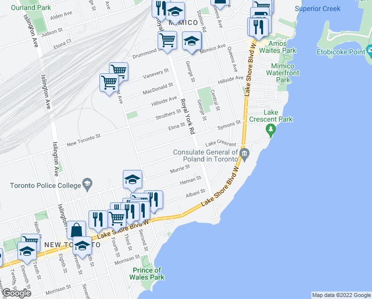 map of restaurants, bars, coffee shops, grocery stores, and more near 68 Lake Crescent in Toronto