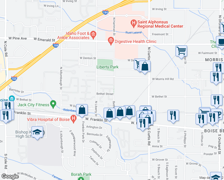 map of restaurants, bars, coffee shops, grocery stores, and more near 218 North Avenger Lane in Boise