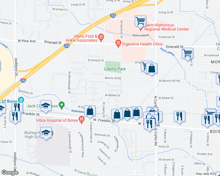 map of restaurants, bars, coffee shops, grocery stores, and more near 204 West Bethel Street in Boise